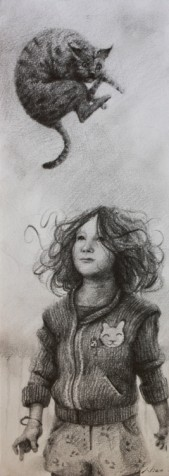 The Surreal Magic Realism Artwork of Nico, Little Girl Levitating Cat with Focus, part of the Afloat Series