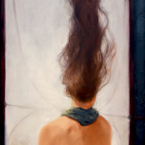 Surreal Magic Realism Oil Painting of A Woman Looking Out Her Window by Artist Nico
