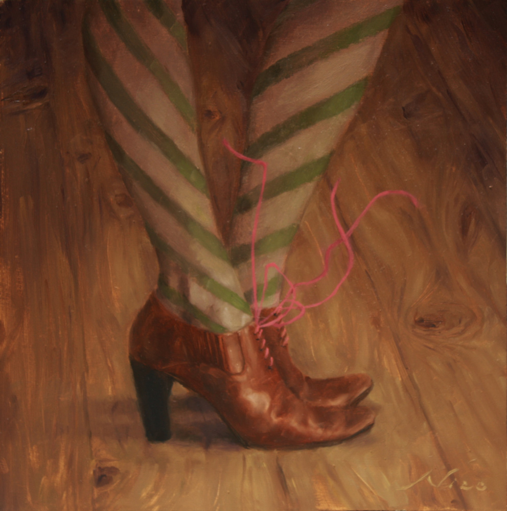 Surreal Magic Realism Oil Painting of A Woman's Shoes with Floating Shoelaces by Artist Nico