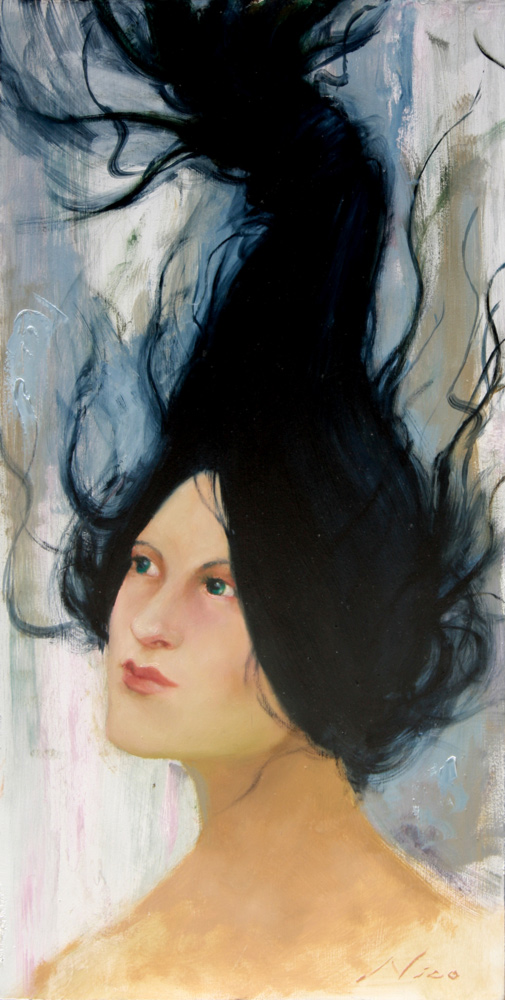 Surreal Magic Realism Oil Painting of A Curious Woman with Floating Hair by Artist Nico