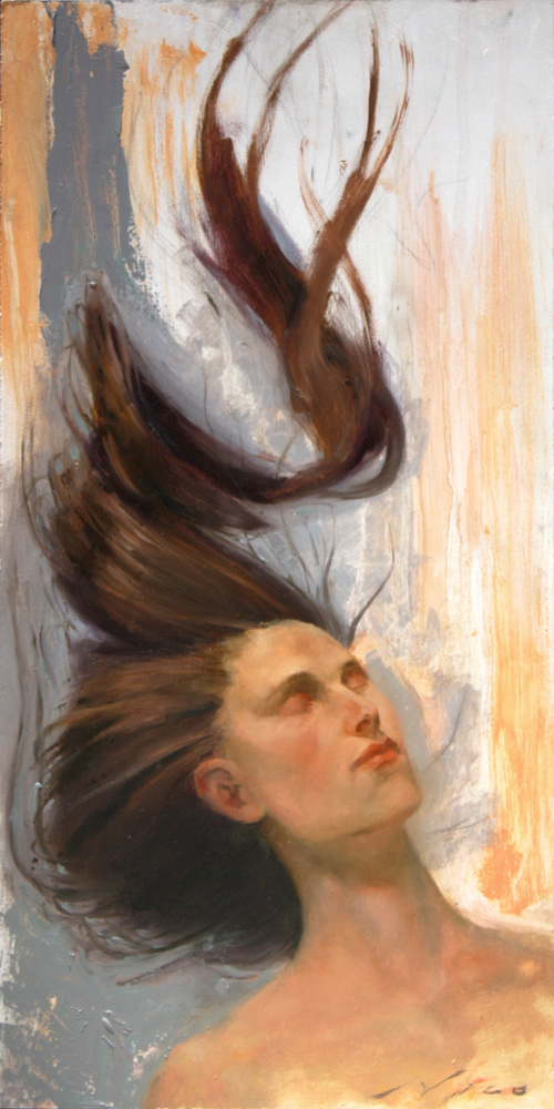 Surreal Magic Realism Oil Painting of A Relaxed Woman with Floating Hair by Artist Nico