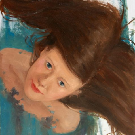 Surreal Magic Realism Oil Painting of A Woman Looking Up with floating Hair by Artist Nico