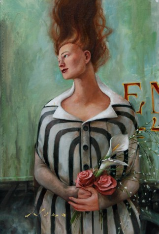 Surreal Magic Realism Oil Painting of Woman with Flowers Waiting at Train Station by Artist Nico