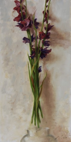 Surreal Magic Realism Oil Painting of a oquet of Floating Gladiolus by Artist Nico