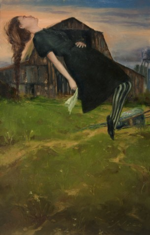 Surreal Oil Painting of a Floating Girl in a Rural Farm Setting by Artist Nico