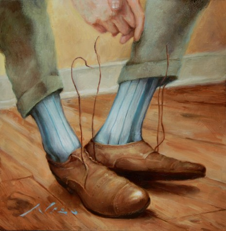 Surreal Oil Painting of a Mans Shoes with Floating Shoelaces by Artist Nico
