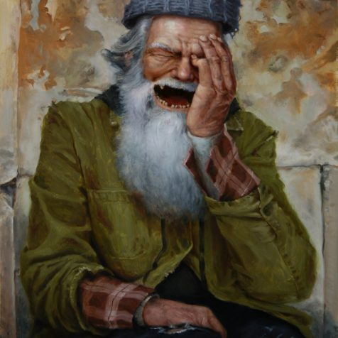 Surreal realist oil painting of a laughing bum with a floating hat