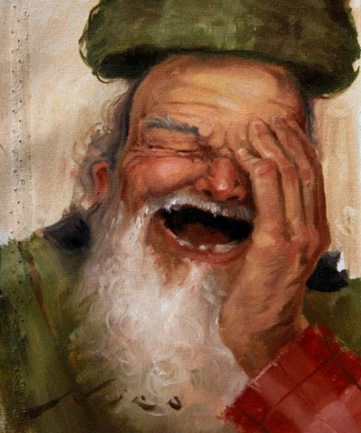 Surrealism-Oil-Painting-Study-of-a-Homeless-Bum-Man-with-a-White-Beard-and-a-Floating-Hat