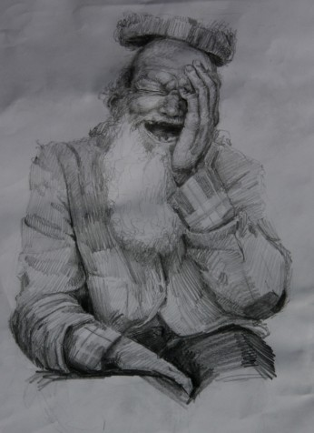 Surrealism-Sketch-drawing-of-a-homeless-man-bum-with-a-floating-hat-by-artist-Nico