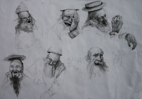 Surrealism-Sketches-drawings-of-a-homeless-man-bum-with-a-floating-hat-by-artist-Nico