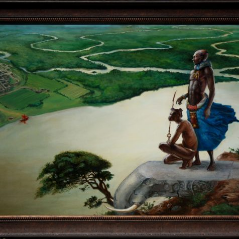 African men looking out over a vast landscape by Artist Nico