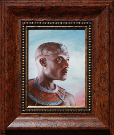 Portrait of african tribal prince looking out by Artist Nico