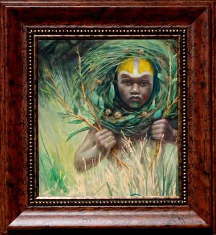 African boy in tribal fashion looking out from plants by artist Nico