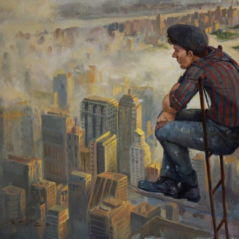 Man sitting on ladder overlooking the city, surrealist magic realism oil painting by Nico Fine Art