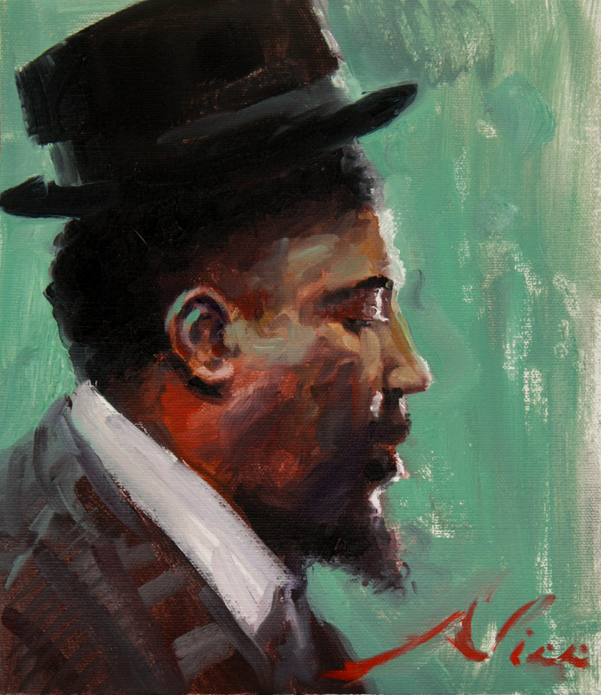 Jazz Musician Thelonious Monk, Surreal/Magic Realism Alla Prima Oil Painting by artist Nico