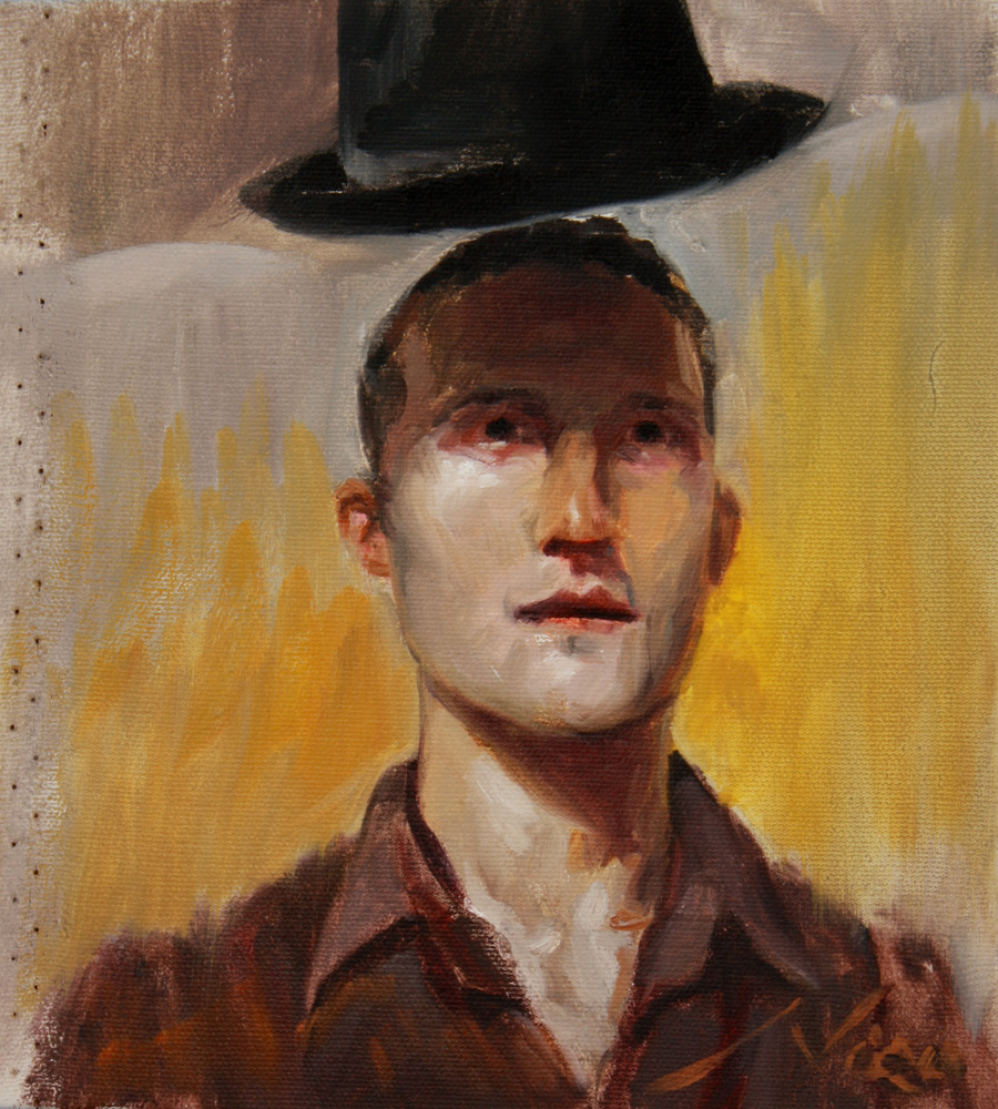 Self Portrait of the Artist Nico with his Hat Floating surrealism/magic realism alla prima oil painting by Artist Nico