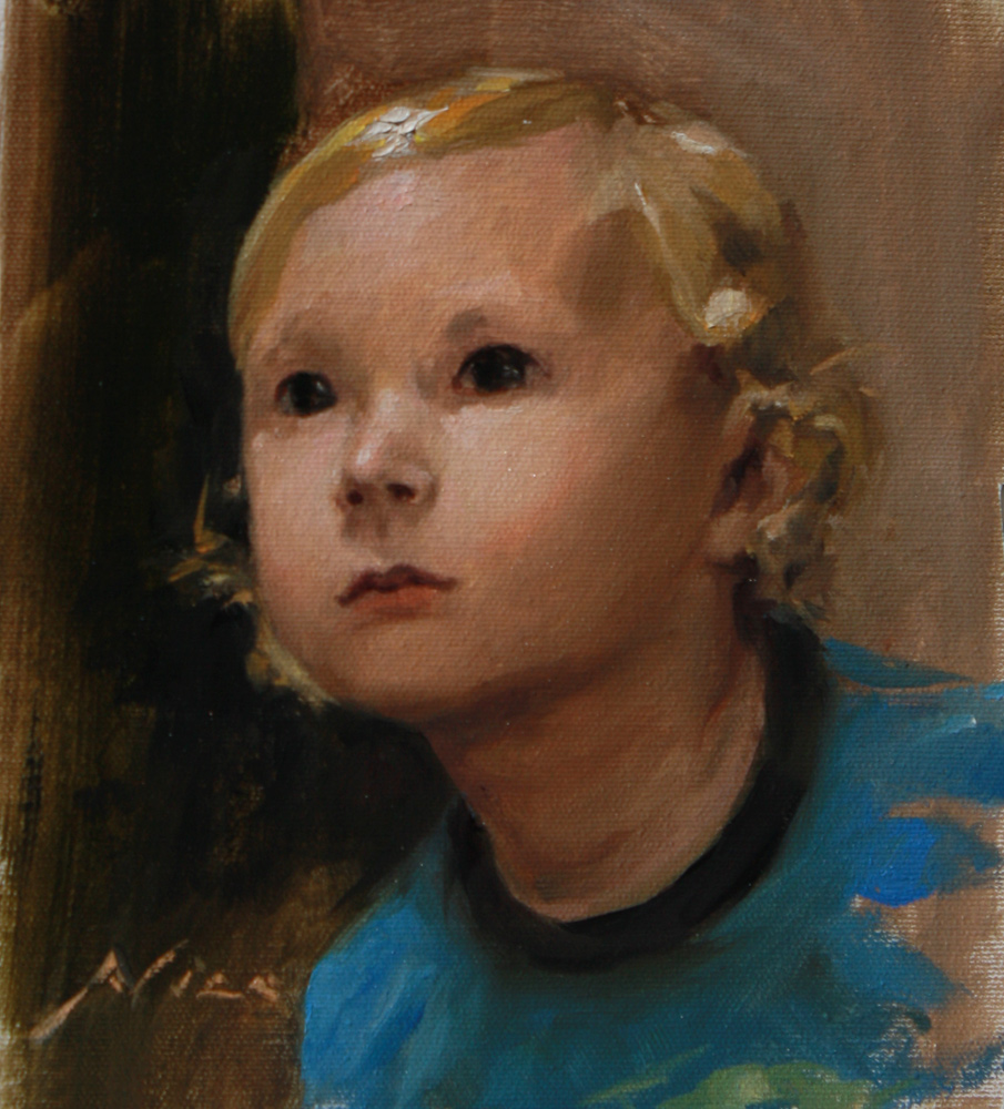 Portrait of Max, realism oil painting alla prima by artist Nico
