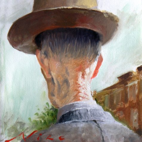 An old man as his hat began to rise or float, surreal magic realism oil painting by fine artist nico