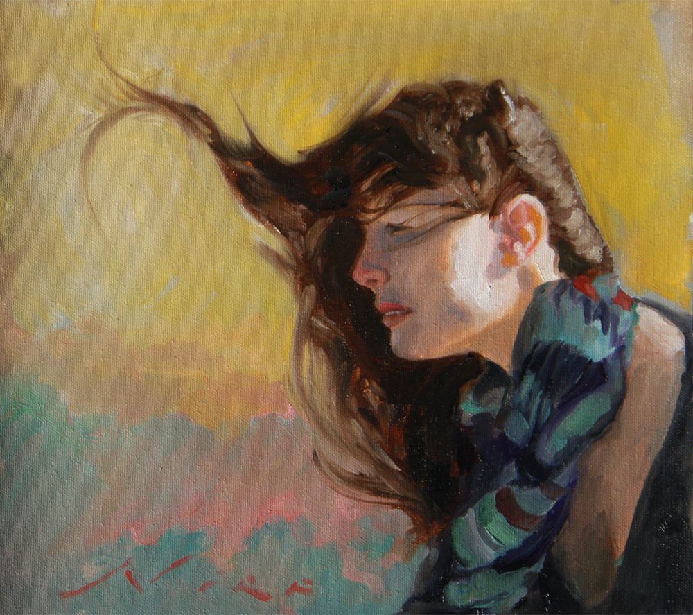 Woman with hair blowing in the wond sunset clouds colors beautiful, surreal magic realism art by fine artist nico