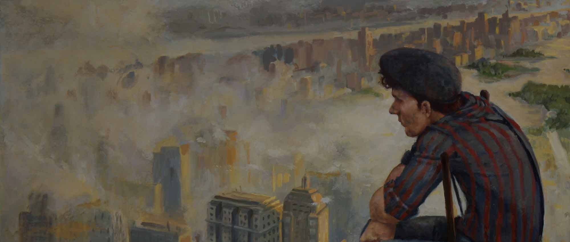 Man sitting on ladder above new york sky scrapers high up looking out, escape - Surreal Magic Realism Artwork by Fine Artist Nico
